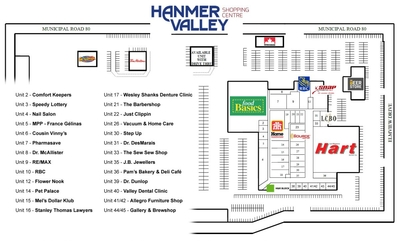 Hanmer Valley Shopping Centre plan