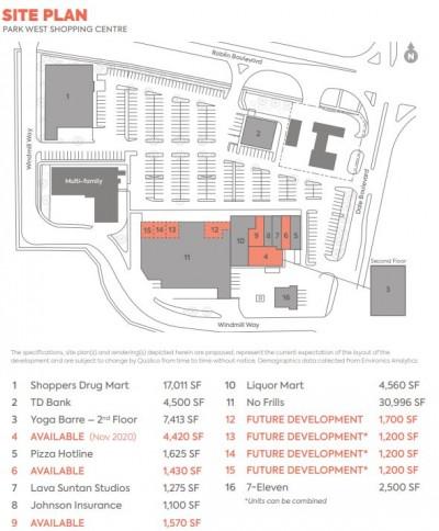 Park West Shopping Centre plan