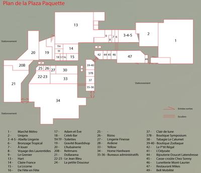 Plaza Paquette Mont-Laurier plan