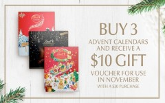 Coupon for: Lindt at Shop Park Royal - BUY 3 ADVENT CALENDARS AND RECEIVE A $10 GIFT VOUCHER FOR USE IN NOVEMBER WITH A $30 PURCHASE