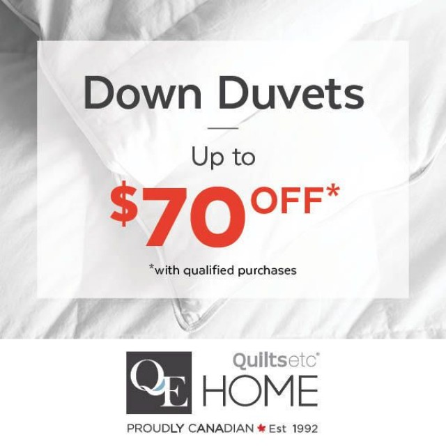 Coupon for: QE Home | Quilts Etc Canada - DUVET COUPON SAVINGS EVENT!