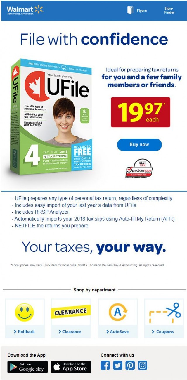Coupon for: Walmart - Start tax time with UFile