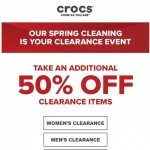 Coupon for: Crocs Canada - Spring cleaning: extra 50% off clearance styles starts now