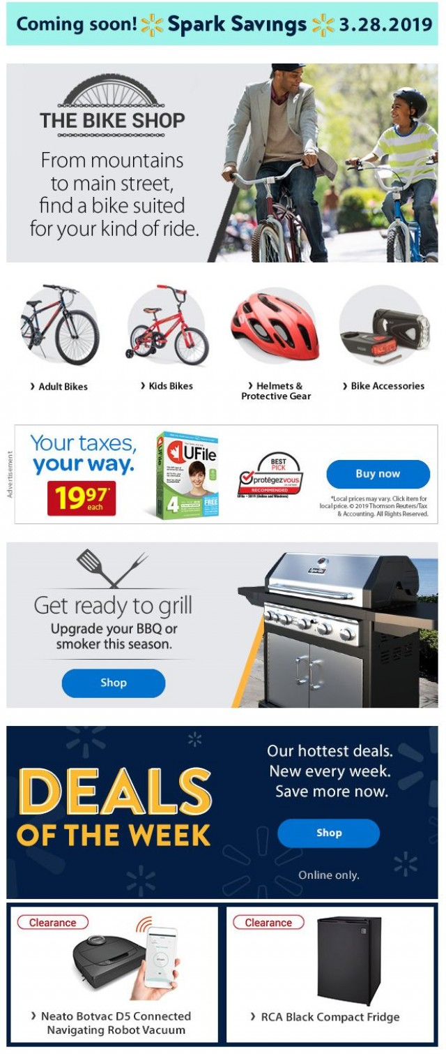 Coupon for: Walmart Canada - Bikes, BBQs, Deals of the Week and more!