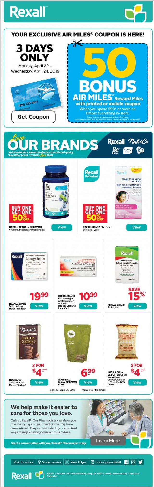 Coupon for: Rexall Drugstore - Your 50 AIR MILES® Bonus Miles Coupon is Here!