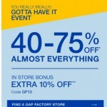 Coupon for: Gap Factory Canada - Ends soon