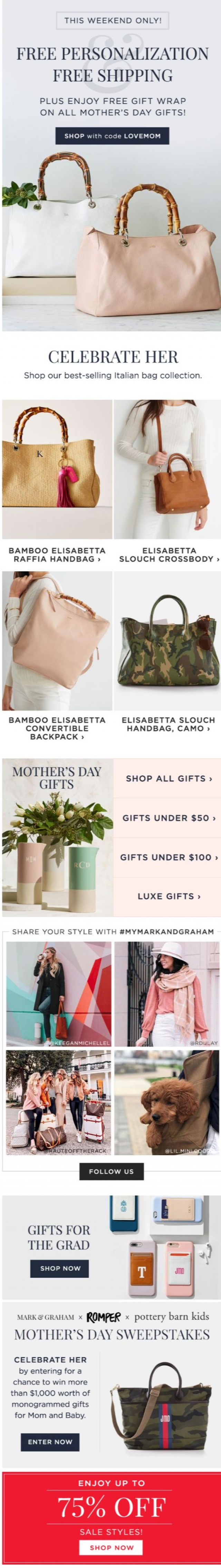 Coupon for: Mark and Graham - Time's Running Out! FREE Monograms for Mom