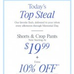 Coupon for: Ann Taylor - Today's Top Steal: Shorts & Crop Pants Starting At $19.99