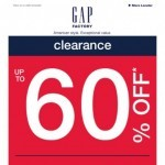 Coupon for: Gap Factory Canada - Clearance (up to 60% off) LAST CALL!
