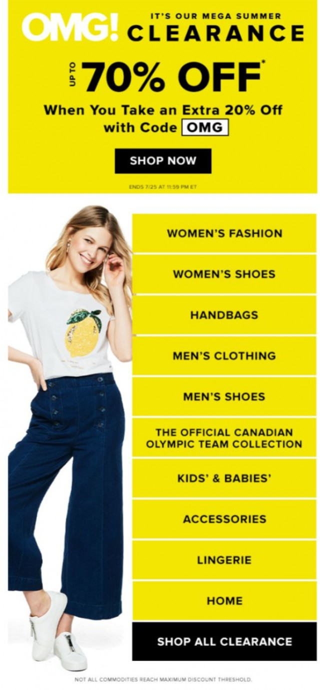 Coupon for: Hudson's Bay - OMG! Our MEGA Summer Clearance up to 70% OFF
