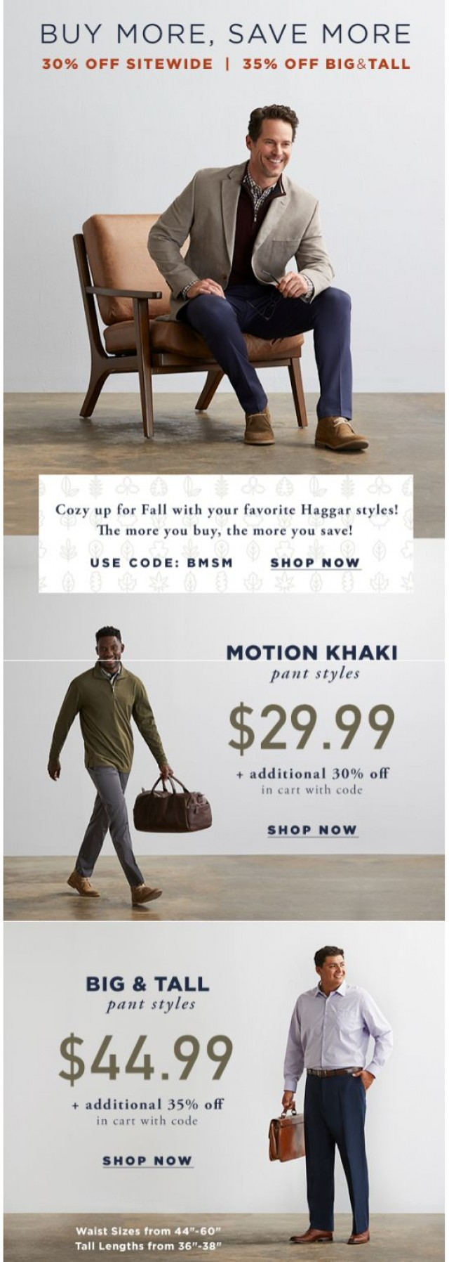Coupon for: Haggar - Buy More, Save More! Get 30% Off Sitewide