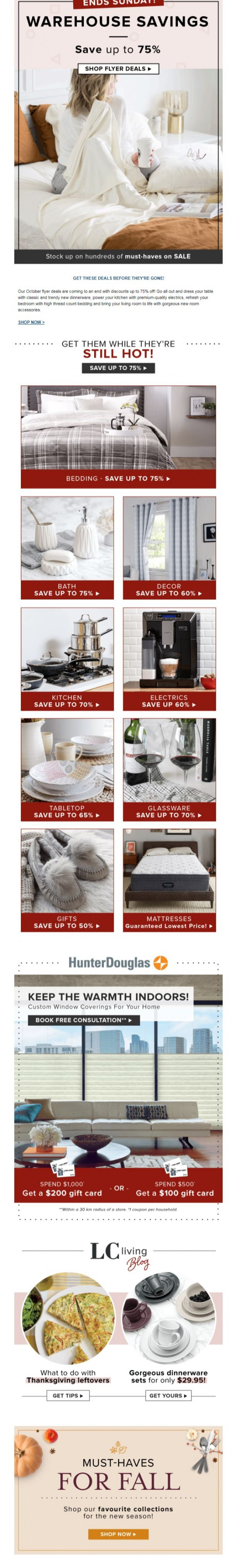 Coupon for: Linen Chest - Friendly Reminder: WAREHOUSE Sale Ends Sunday!