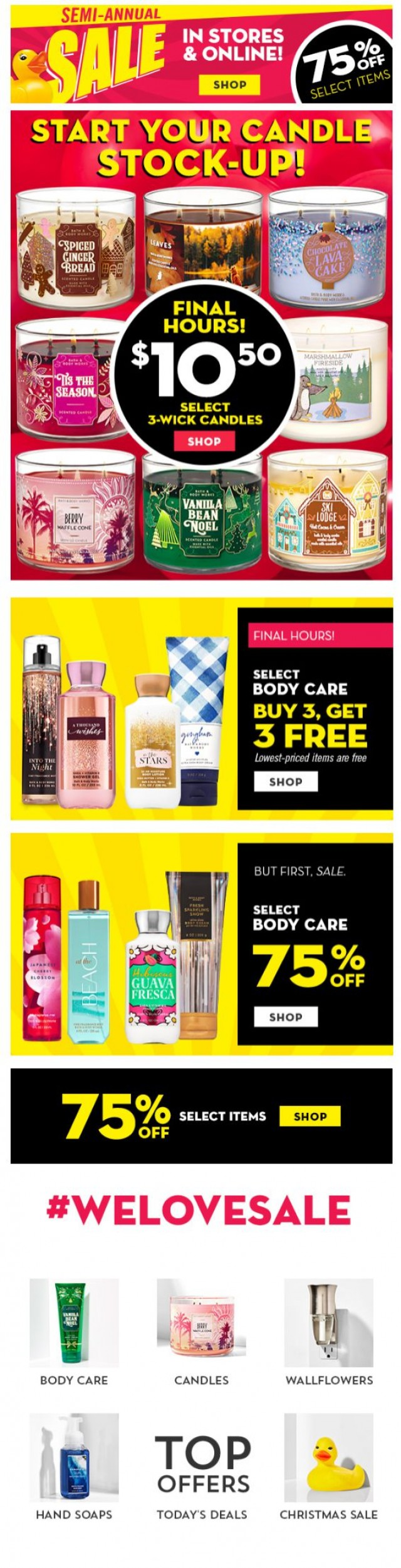 Coupon for: Bath & Body Works - get your $10.50 candles yet? final hours!