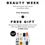 Coupon for: Hudson's Bay - Beauty Week is on! Get FREE SHIPPING + deluxe samples