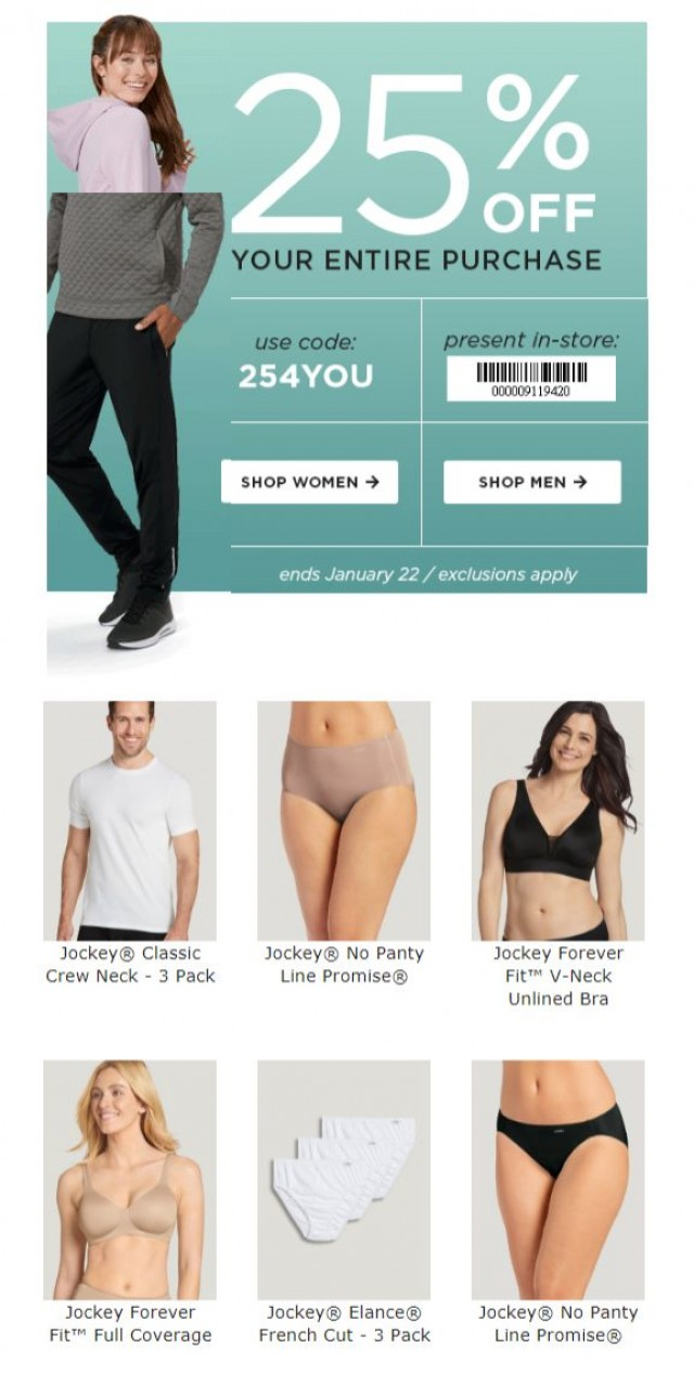 Coupon for: Jockey - 25% OFF is allllll yours