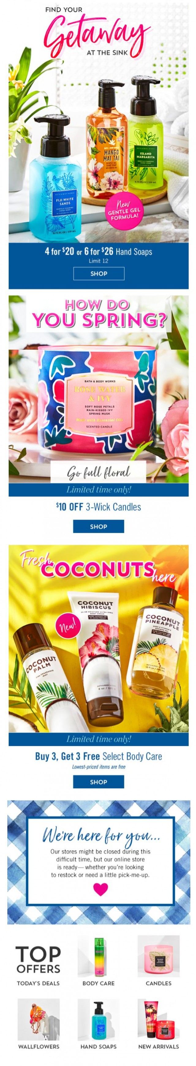 Coupon for: Bath & Body Works - open for: today's pick-me-up