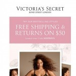 Coupon for: Victoria's Secret - Free Shipping and returns on $50