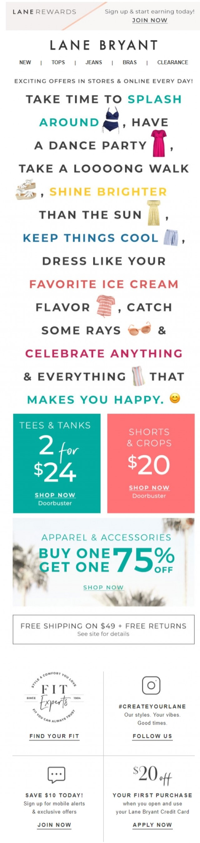 Coupon for: Lane Bryant - How to enjoy summer. (Hint: 2/$24 tees & more!)
